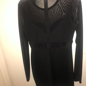 Mini Black Dress with Sleeves Mesh Outline Cut